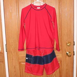Hanna Andersson red/blue sunblock swimsuit set 160